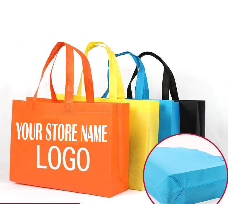 Custom logo printed reusable non woven tote shopping bag