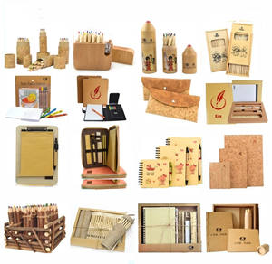 Funny hot sale eco-friendly cork wooden stationery set with zipper case for new employee office girl
