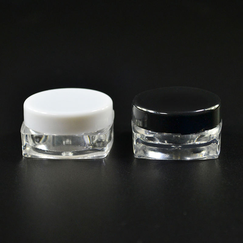 Free Sample Hot Selling Factory Direct 3g 5g PS Container Square Makeup Sample Plastic Eye Cream Jar