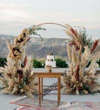 Bohemian Vintage Modern Wedding Themes Floral Dried Pampas Grass Palm Leaves DIY Artificial Wedding Flower Decoration Backdrop
