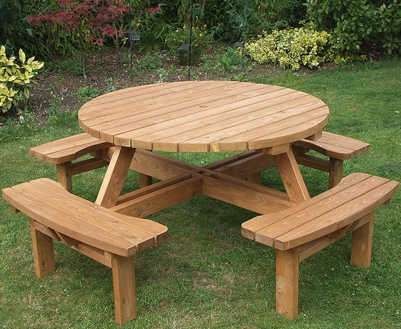 8 Seat Garden Outdoor Wooden Round Picnic Table Bench With Parasol Hold