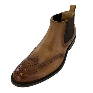 Height Formal Increasing Tan Leather Chelsea Brogue Boot Shoes For Men With 3 Inch Hidden Heel