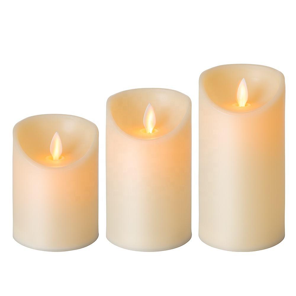 Barato Movendo chama D3'' H4'' 5 '''' 6 Marfim pilar de plástico decoração de casa aaa bateria operado sem chama levou vela
