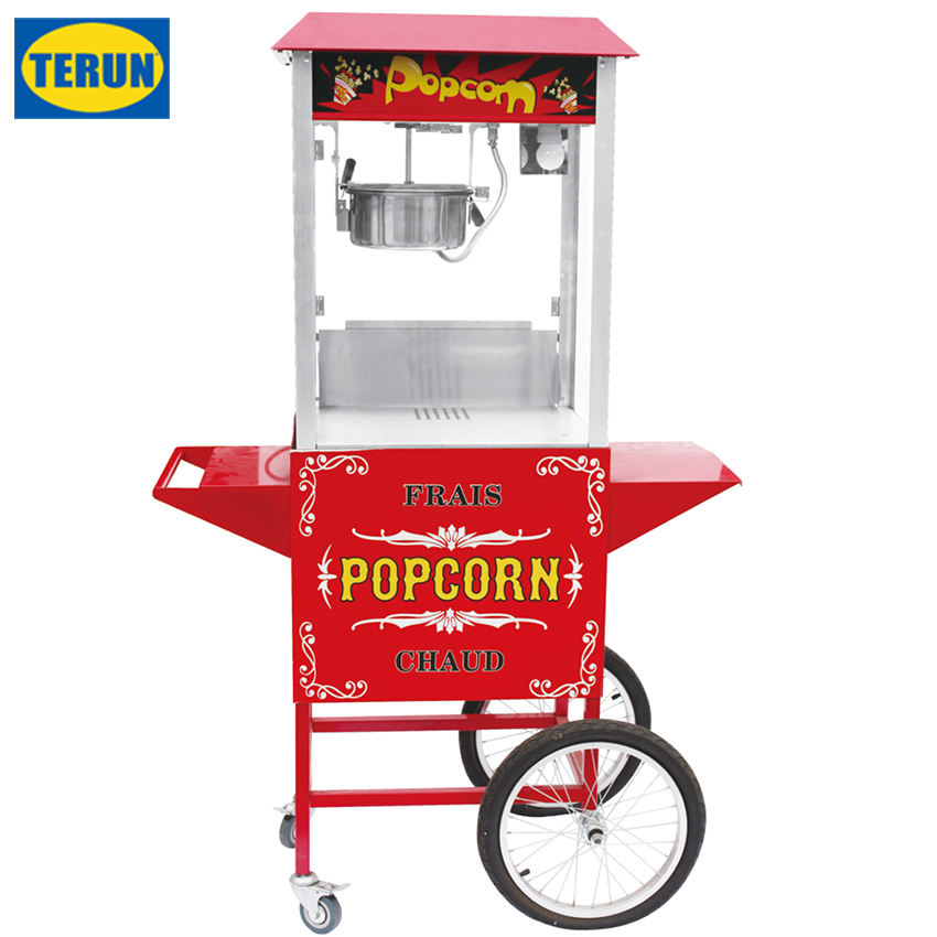 Easy Move CE approved 8oz organic glass Commercial electric factory popcorn machine industrial with cart guangzhou