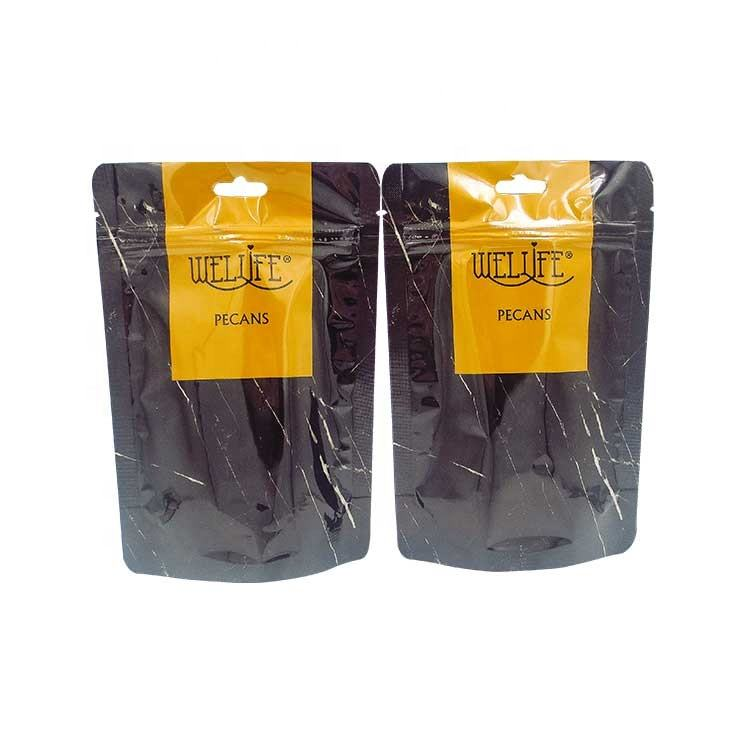 Reclosable heat seal ziplock with window printable for wood chips Pecan wood chips plastic foil bag