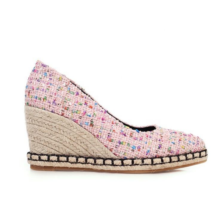 Sequins Patchwork Women Shoes China Cheap Wholesale Wedges Shoes Latest Design Custom Logo Pointed Toe Ladies Spring Dress Shoes