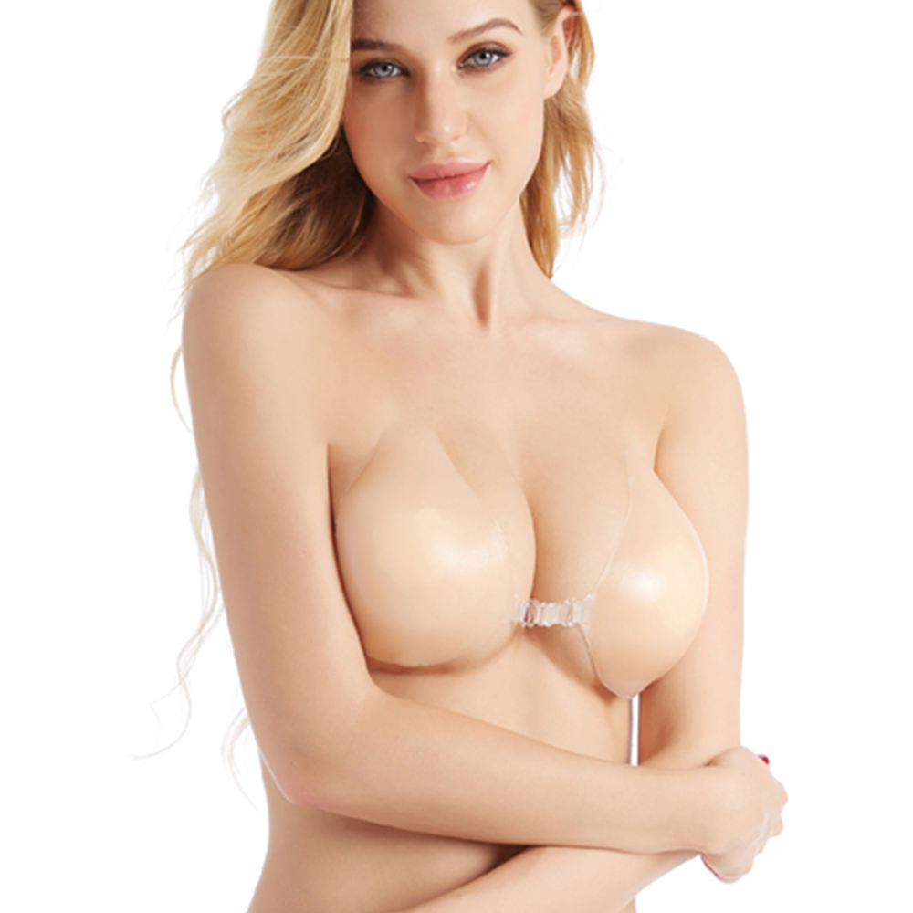 2021 new arrivals V-XW045 sticky strapless invisible push up silicone bra nude wholesale plus size bras