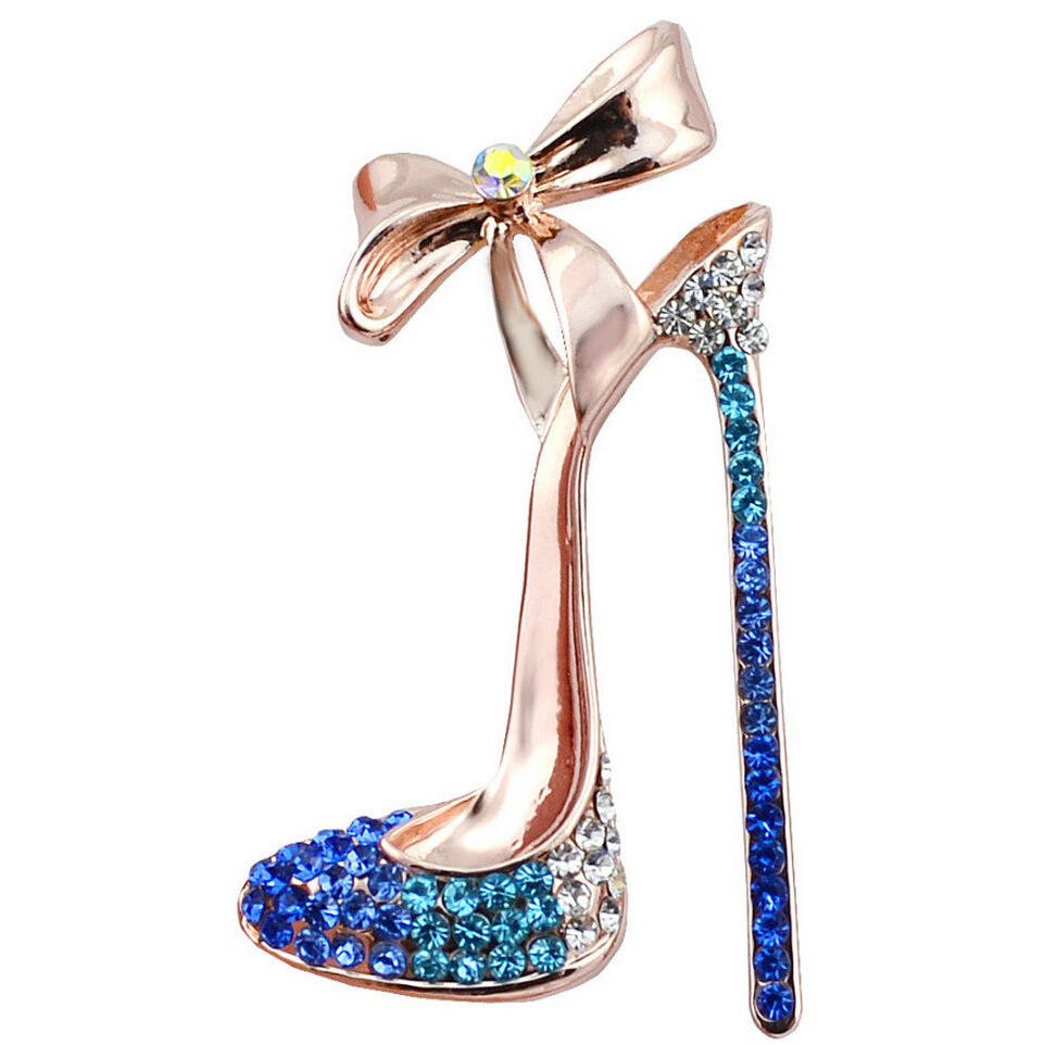 Crystal High Heels Shoes Brooch Pins Jewelry Gift for Women Men