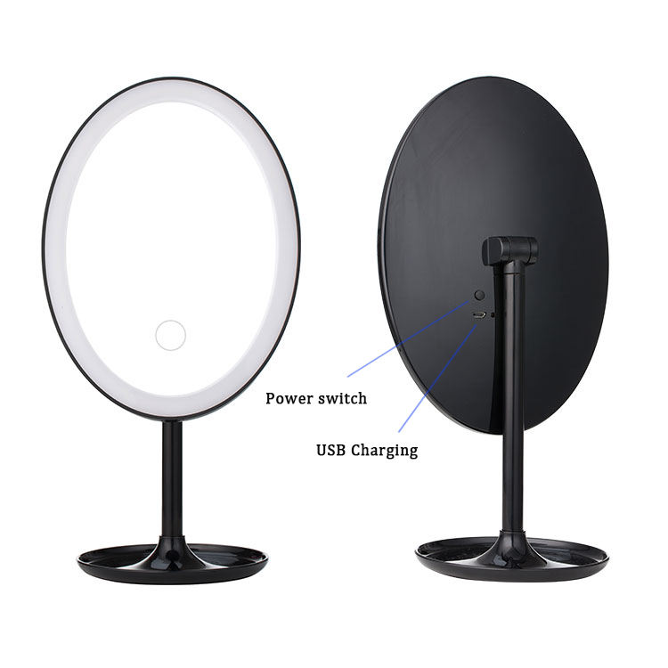 Black Oval Led Vanity Glass Detachable Mirror