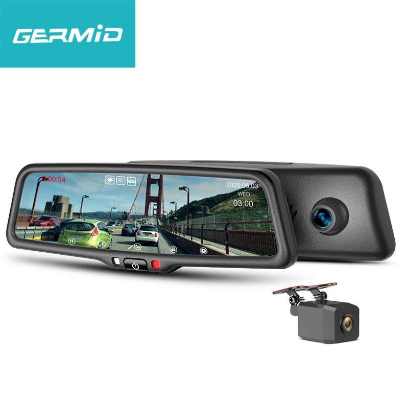 GERMID 4.3 inch IPS Touch Car Black Box Dual Lens Video Recorder Dash Cam Rearview Mirror Car Camera