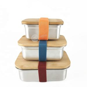 2020 New bamboo bento lunch box eco  kids stainless steel lunch box bamboo lid for freshness preservation