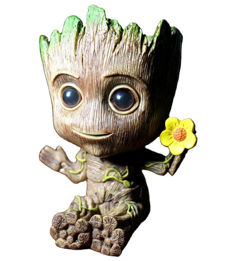 The newest tree man pen holder figure, PVC groot flower pot, Guardians of the galaxy baby groot flower pot action figure