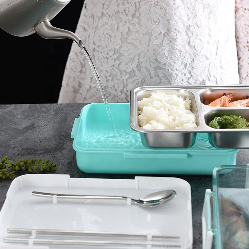 Amazon Top Seller Lunch Box Portable Insulated Microwave Heated Stainless Steel Plastic Food Storage Container