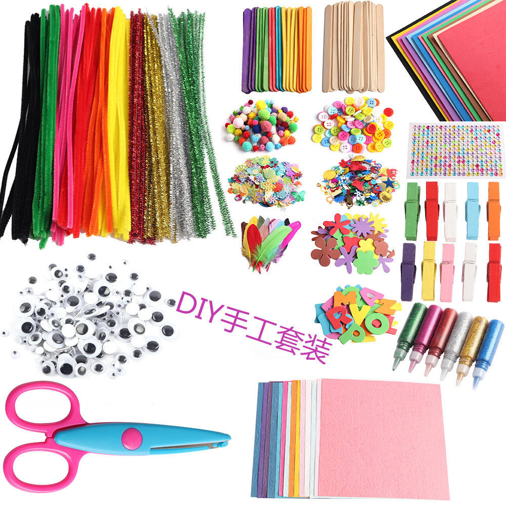 DIY Art Craft Sets Supplies for Kids Crafting Kits Pipe Cleaners-Colour Felt- Glitter Poms- Feather-Buttons