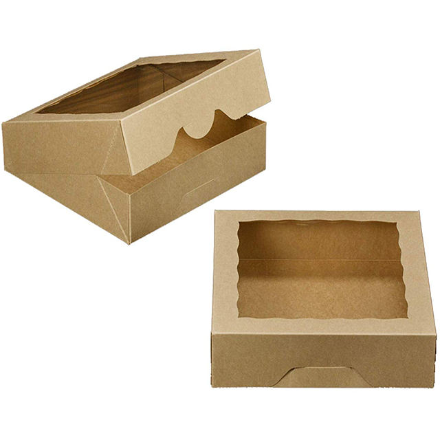 10inch Natural Kraft Bakery Pie Boxes With PVC Windows,Large Cookie box/Donut Box 10x10x2.5inch Brown