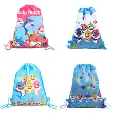 4 Designs Baby Shark Drawstring Gift Bag Baby Shark Pattern Backpack for Kids Birthday Party Bag Party Favors Supplies