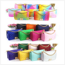 Wholesale women handbags 2020 silicone/PVC shoulder handbag rainbow bag jelly candy purse