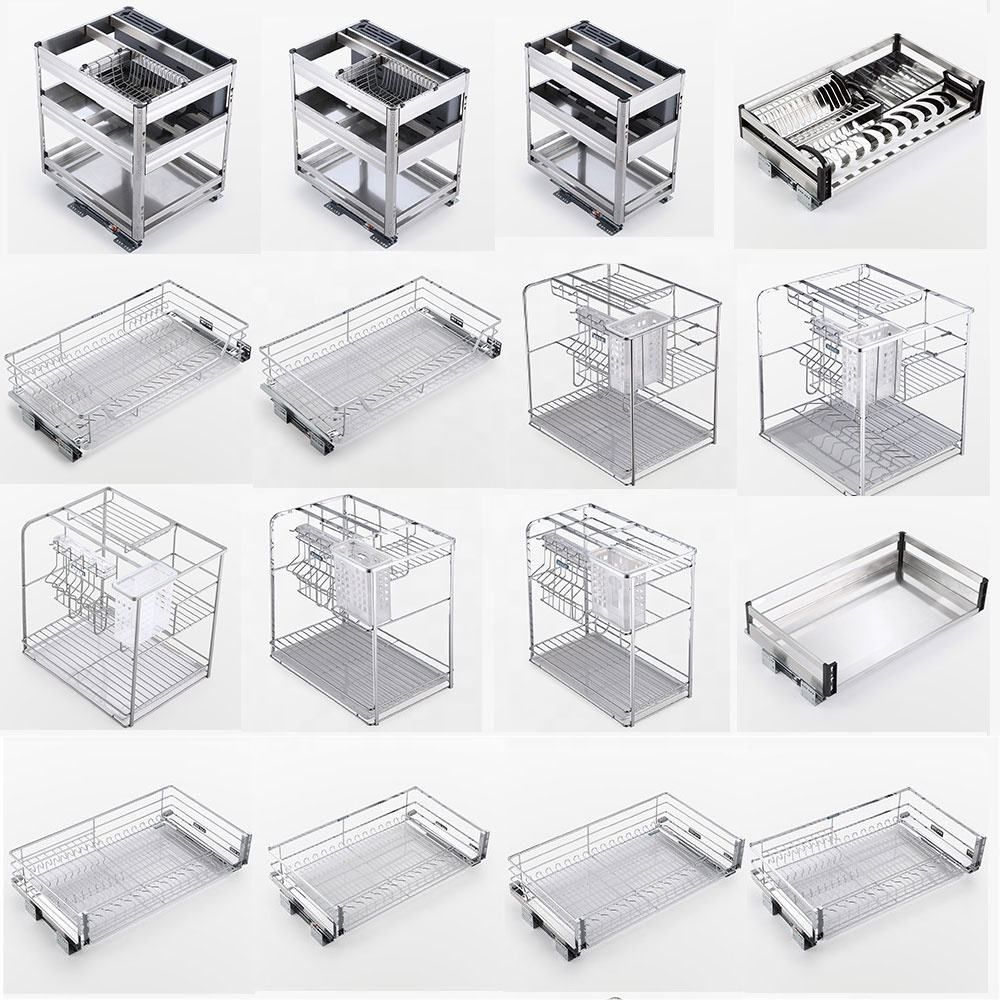 Cabinet Pull Out Drawer Basket Stainless Steel