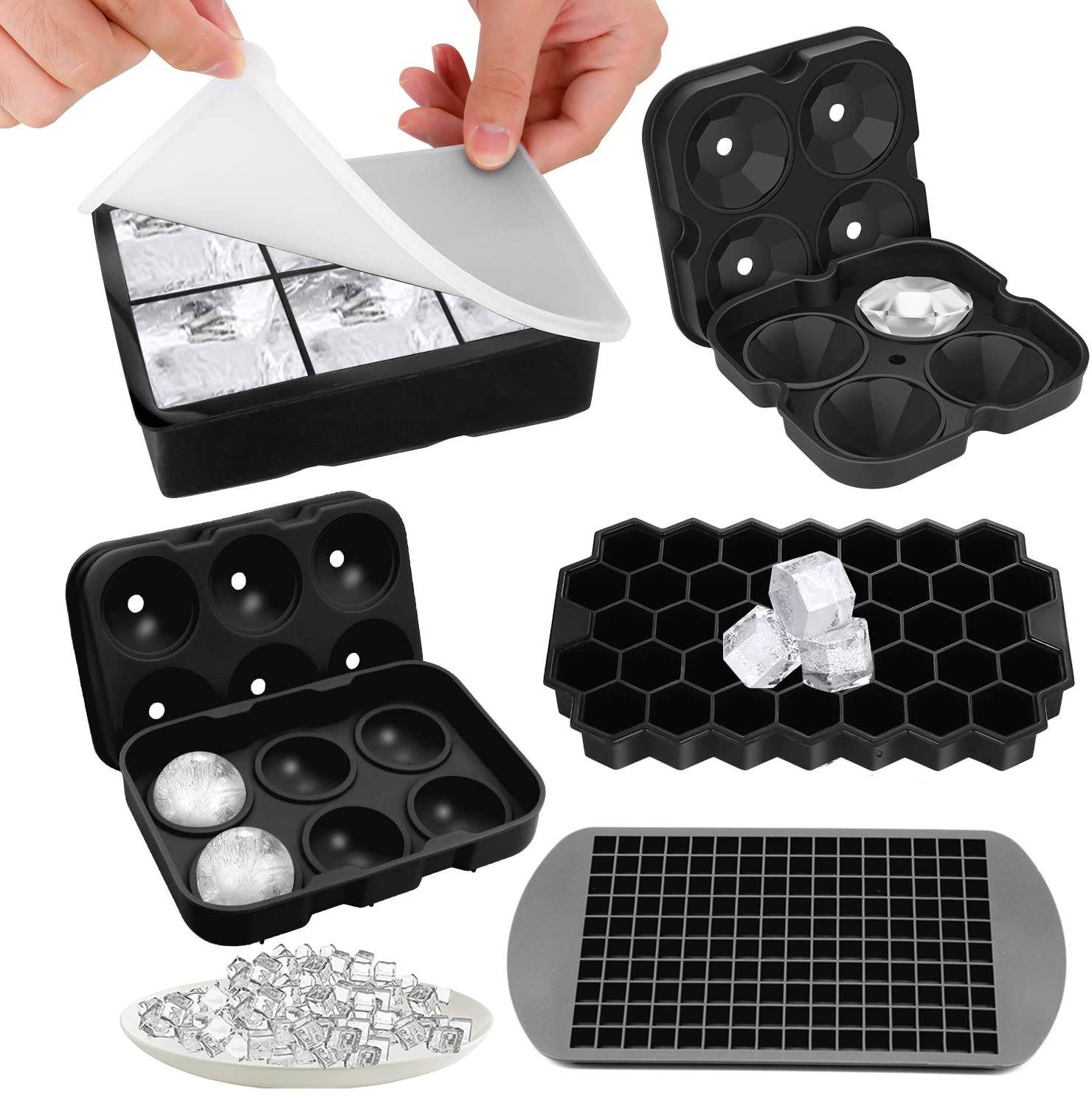 "BPA Free Large 2"" Ice Cube Maker High Quality 6 Cavity Silicone Ice Cube Mold Big Giant Size Silicone Ice Cube Tray"