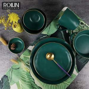 Wholesale factory price new design dinner plate with gold rim green color glazed ceramic dinnerware set