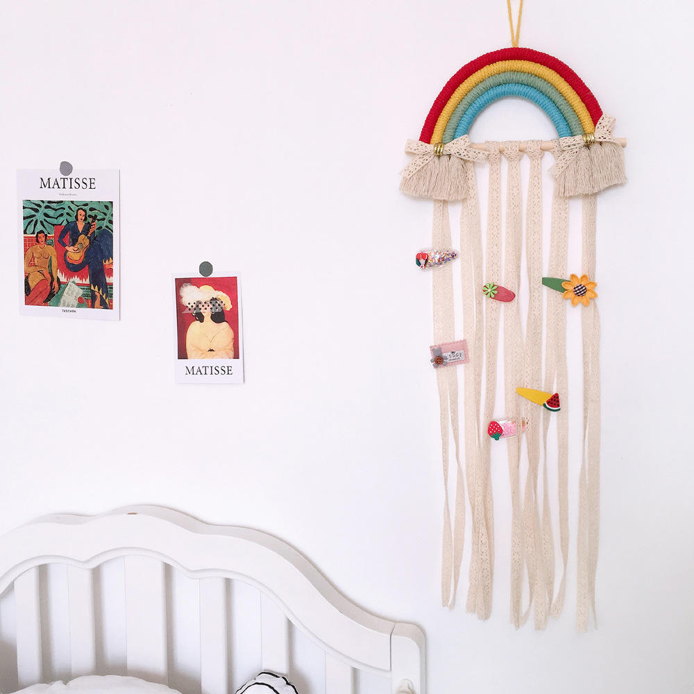 Rainbow design wall hangings home decoration for kids hair accessories storage