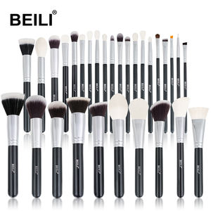 BEILI 30 Black Makeup Brushes set shinny Wood Handle Goat Hair Blending Foundation wholesale Private Logo brochas maquillaje