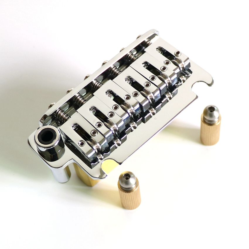 Full Size solid brass block guitar tremolo bridge with brass roller saddle and posts for quality electric guitars