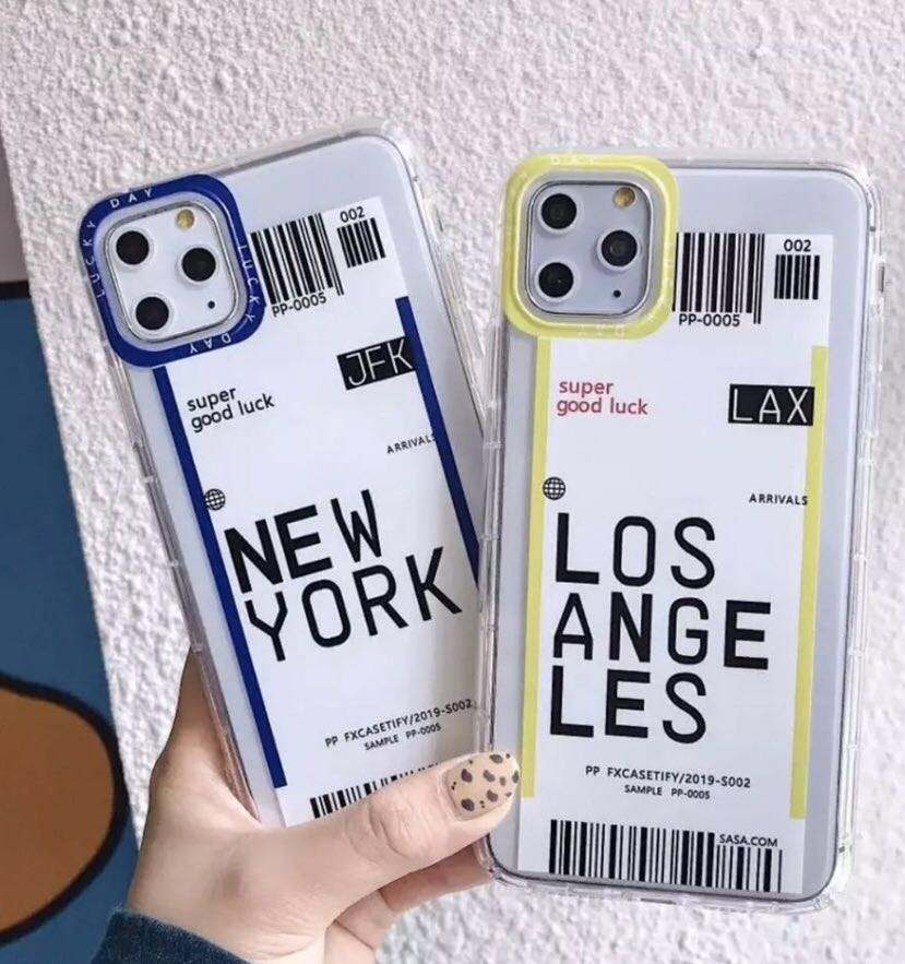 Fresh design double color plane ticket QR barcode cover for iPhone 11 DHL express custom phone case for iPhone 12