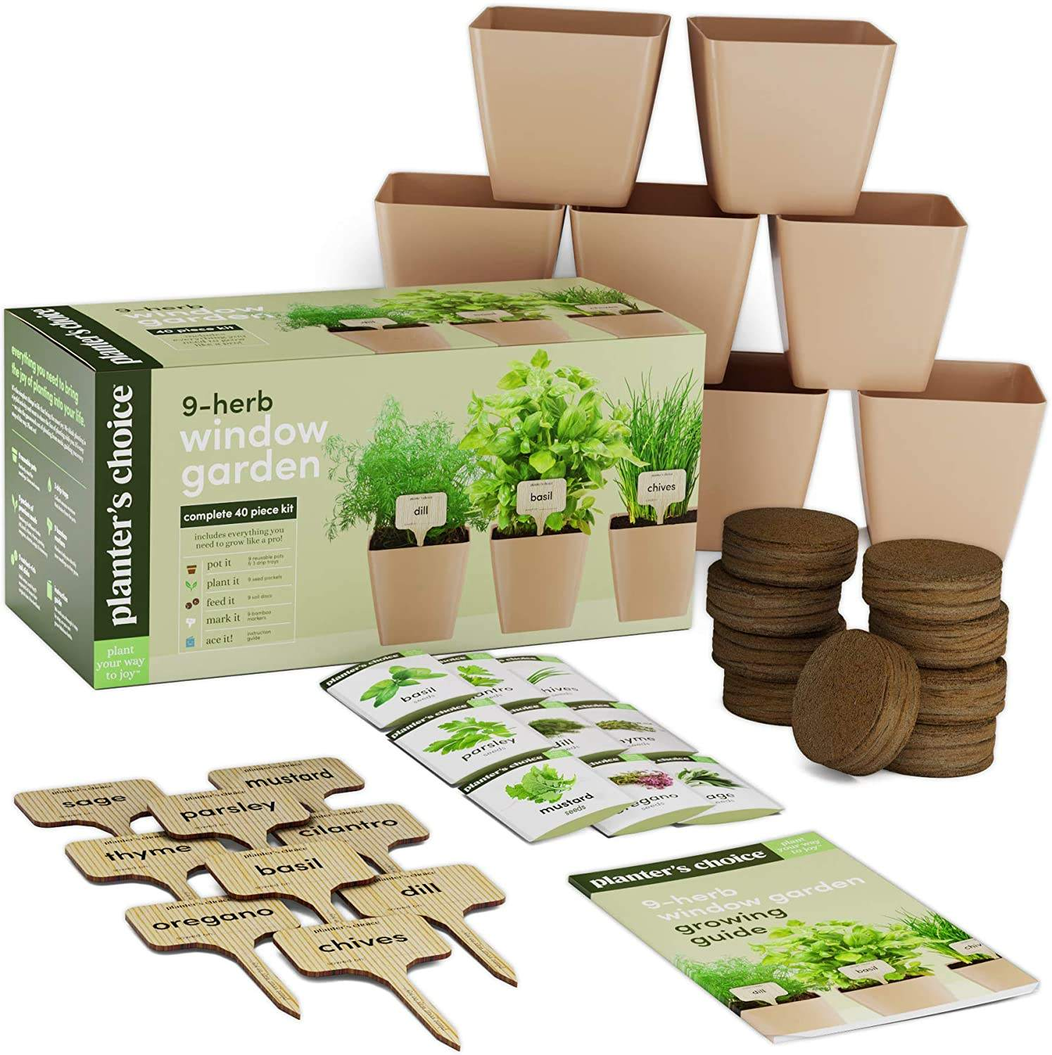 Amazon Hot Seller Unique Gardening Gifts Indoor Organic 9 Herbs Plants Bonsai Starter Kit with Comprehensive Guide