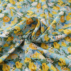 Wholesale 100% Polyester floral print woven korean silk chiffon fabric for dress