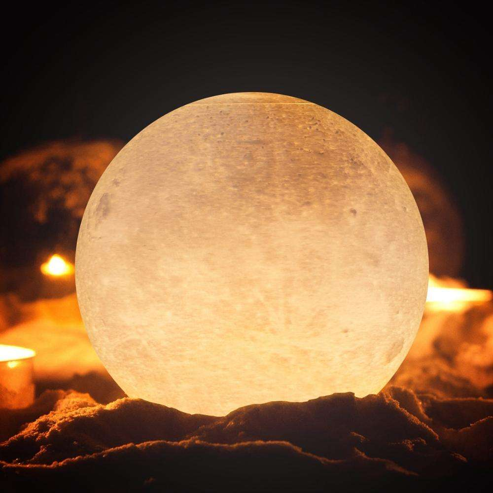 8-20cm Indoor Decorations Led Rechargeable 3D Printed Moon Lamp 16 colors