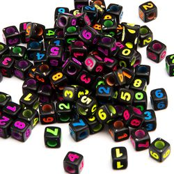 7X7mm  Cube Shape Mix Color Colorful Acrylic beads with lett