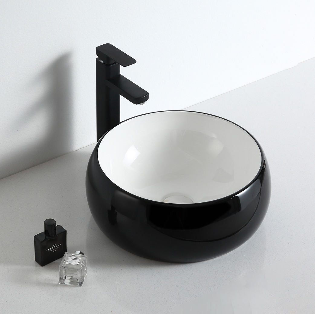 Wholesale high quality sanitary ware gloss black and white countertop wash basin ceramic bathroom sink