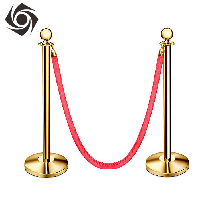 High Quality Customizable Rope And Pole Red Velvet Velvour Rope Stanchions Pedestrian Barrier