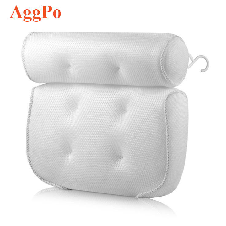 Bath Pillow, Bathtub Spa Pillow with 3D Air Mesh Technology and 4 Non-Slip Strong Suction and a Hanging Hook