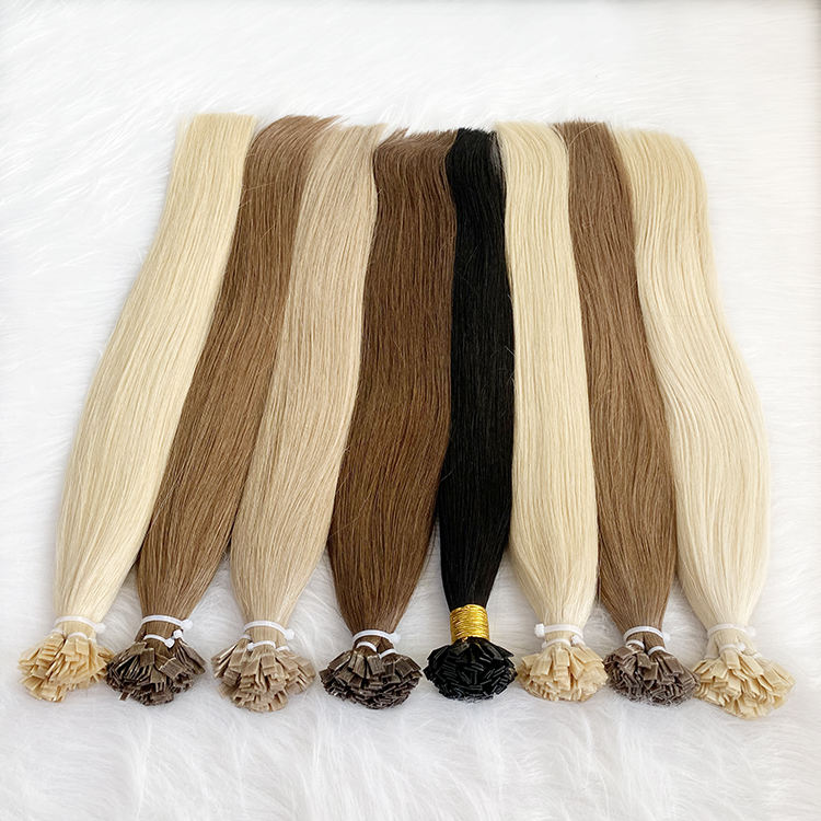 Cheap Wholesale Human Hair Extension Flat Tip Italy Keratin Prebonded Hair Extensions Flat Tip Hair