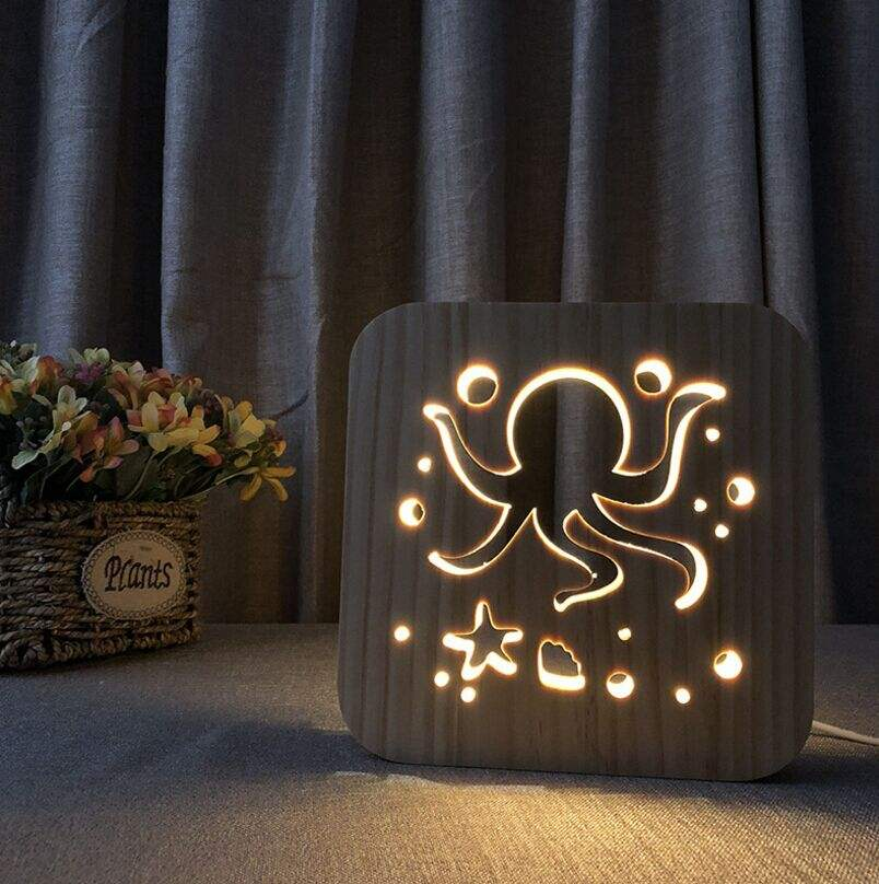 Octopus Theme 3D Wooden lamp LED Night Light Home Room Decoration Creative Table Lamps for Easter Gift