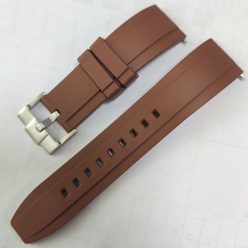 Custom Luxury Watch Strap For Rolex Tropic Waterproof Rubber 20mm 22mm Brown Silicon Rubber Watch Strap Quick Change