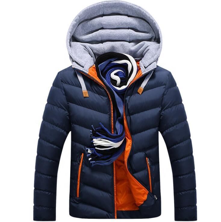 High quality men jacket with fleece hooded jackette for men winter coat men's cotton padded jacket
