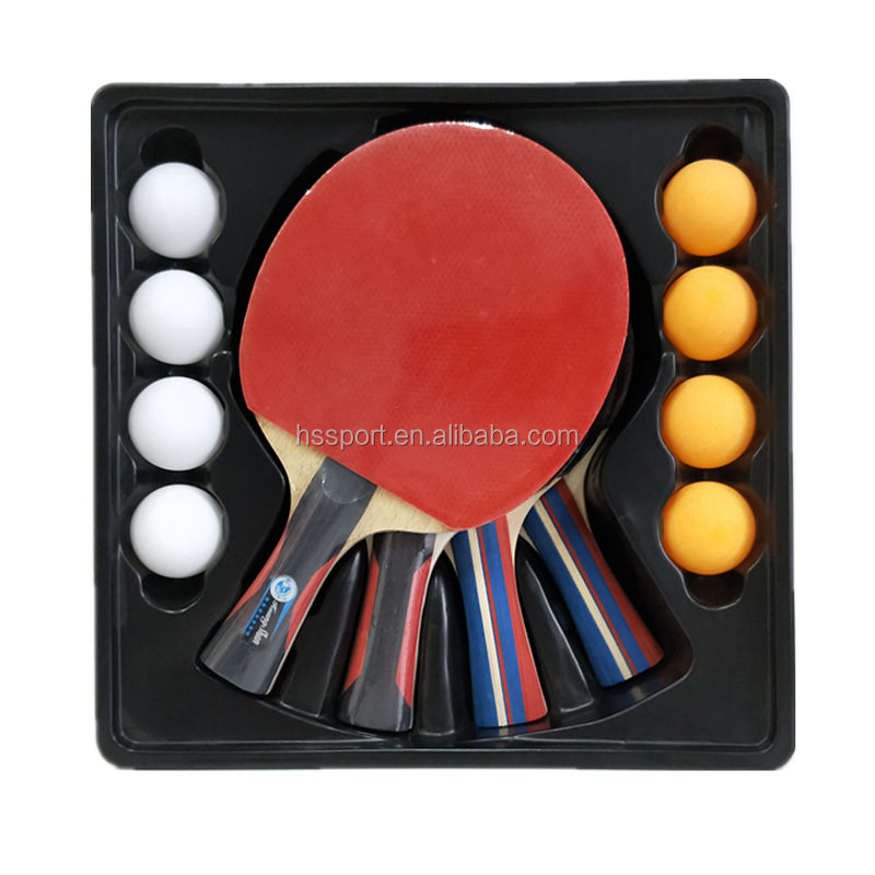 Table Tennis Racket Sets 4 rackets 8 ball with carrying bag,4 player ping pong paddle set