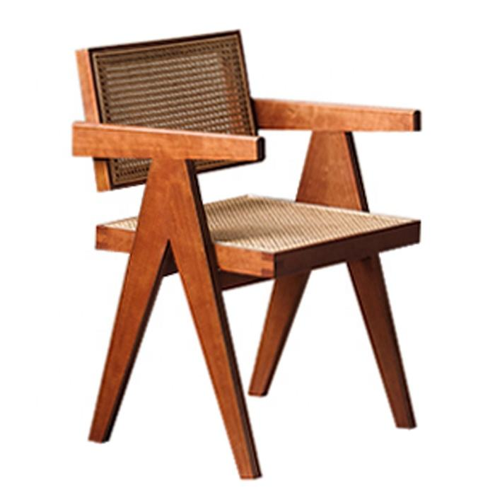 American Style Wholesale Dining Chair Pierre Jeanneret Chair Wooden Frame Rattan Back and Seat Rattan Dining Chair (W101C)