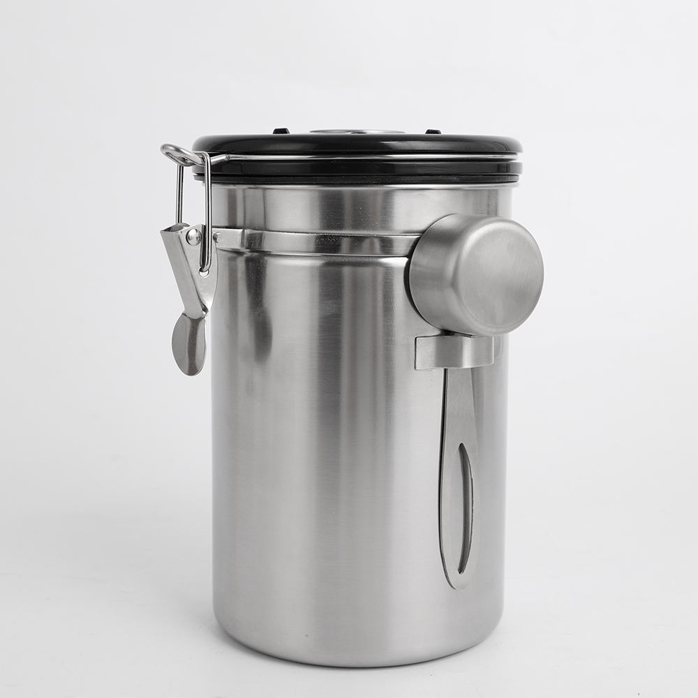 Wholesale Airtight Stainless Steel Coffee Canister mit Co 2 Valve Food lagerung mit edelstahl scoop