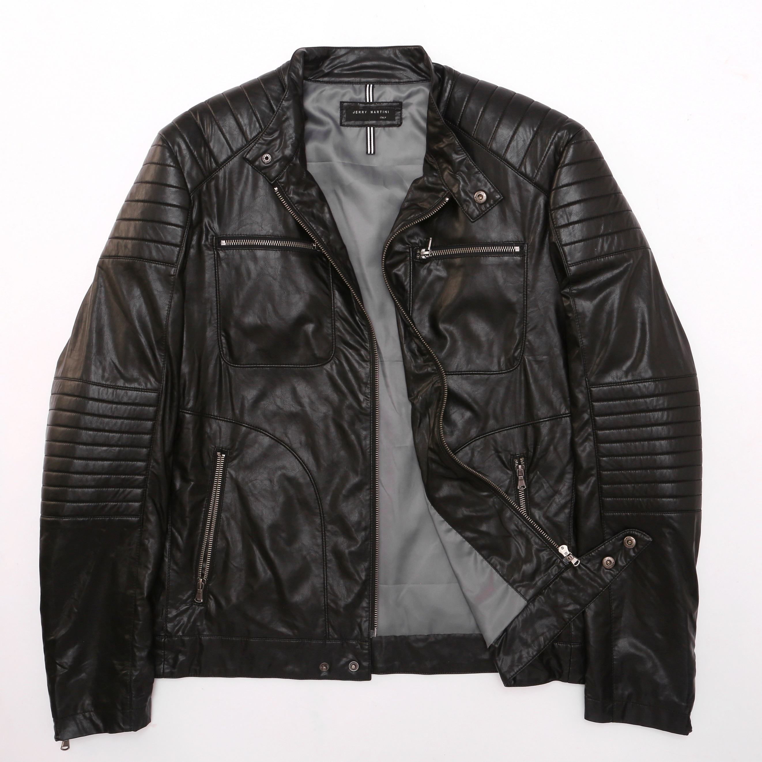 Wholesale outdoor streetwear Custom Winter Fashion Casual Black Mens bake motorcycle Leather Jacket