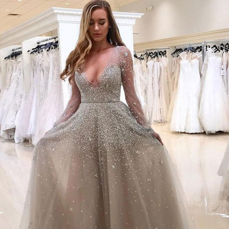 A-Line Deep V-neck Long Sleeves Gray Tulle Ball Gown with Rhinestones Evening Dress