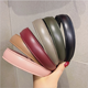Korea Wholesale Fashion Pure Color PU Leather Ladies Elastic thin Headband