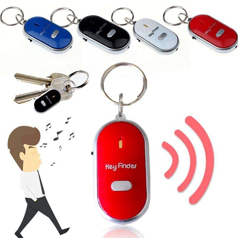 LED Light Torch Remote Sound Control Lost Key Fob Alarm Locator Keychain Whistle Finder Old Age Anti-lost Alarm