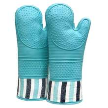 Heat Resistant 550 Degree  Silicone Oven Hot Mitts  Extra Long Professional Baking Oven Gloves