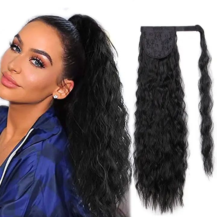 "Vigorous Long Ponytail Extensions for Black Women Synthetic 22"" Curly Corn Wavy Ponytail Hairpiece Magic Paste Black Ponytail"