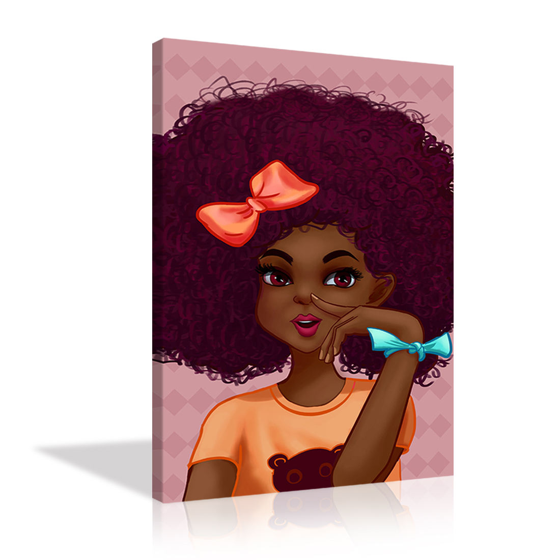 African Cute Little Girl Picture Pink Wall Art Canvas Painting Print