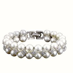 Korean Fashion Hot Selling Natural Pearl Charm Bracelet Women  Zircon Jewelry Layered Couple Designers Bracelet
